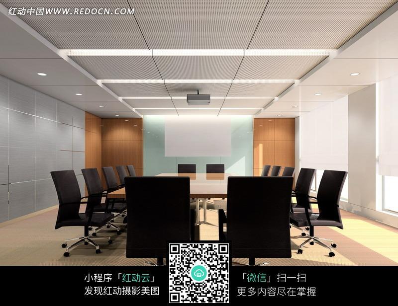 白色吊顶的会议室效果图图片
