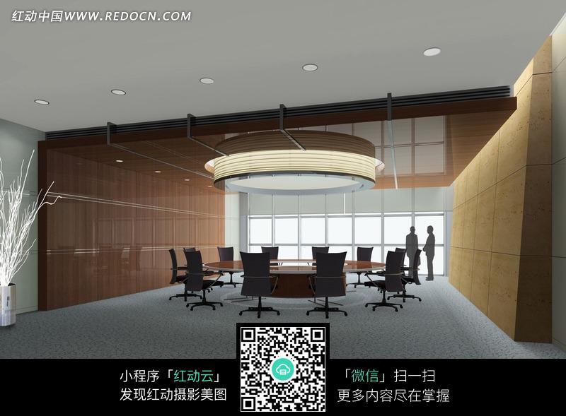 圆形桌子的会议室效果图图片_室内设计图片