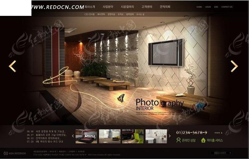 室内设计网站模板psd免费下载_韩国模板素材图片
