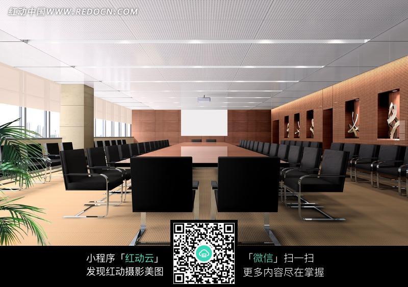 黑色椅子的会议室效果图图片图片