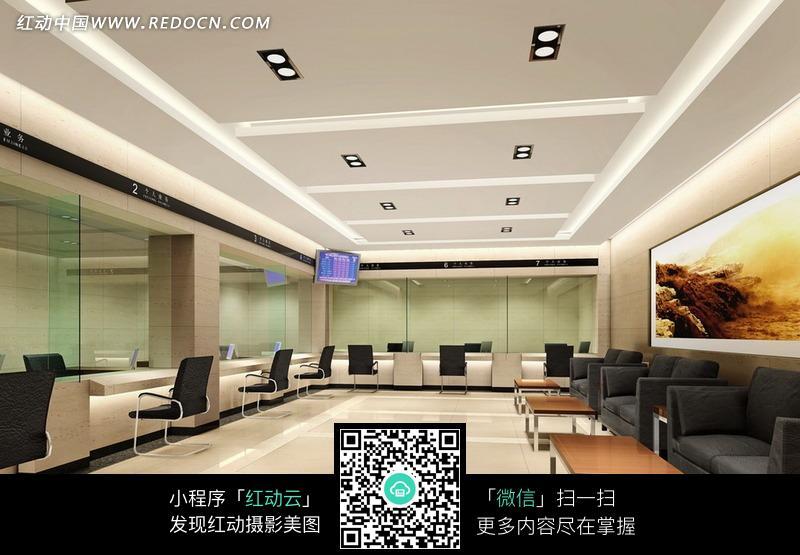 银行大堂空间区域设计效果图图片
