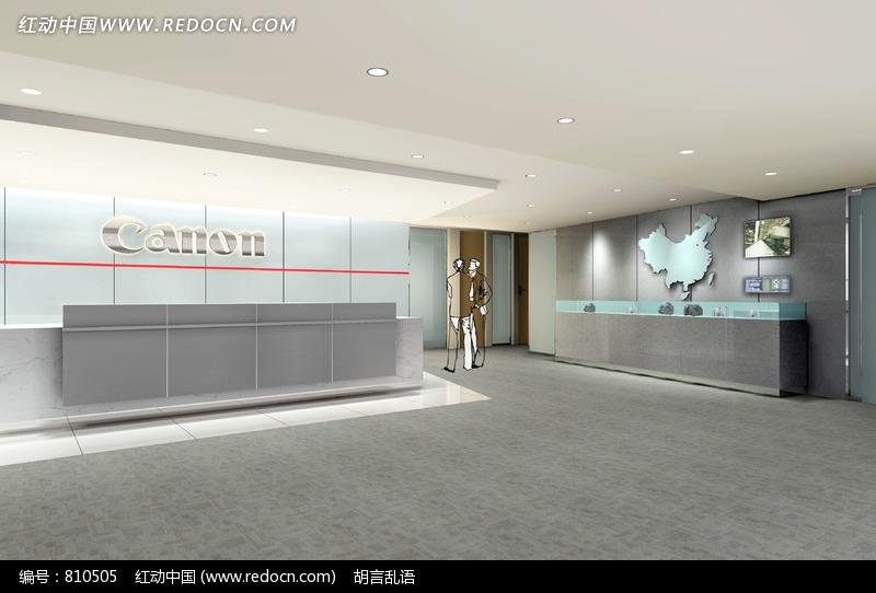 办公空间前厅效果图_室内设计图片_红动手机版