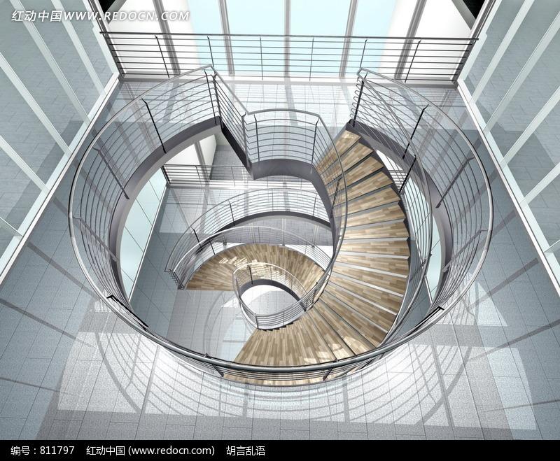 旋转楼梯俯视图