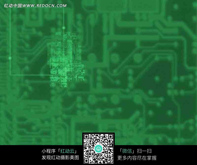 电路板和光晕构成的绿色图片