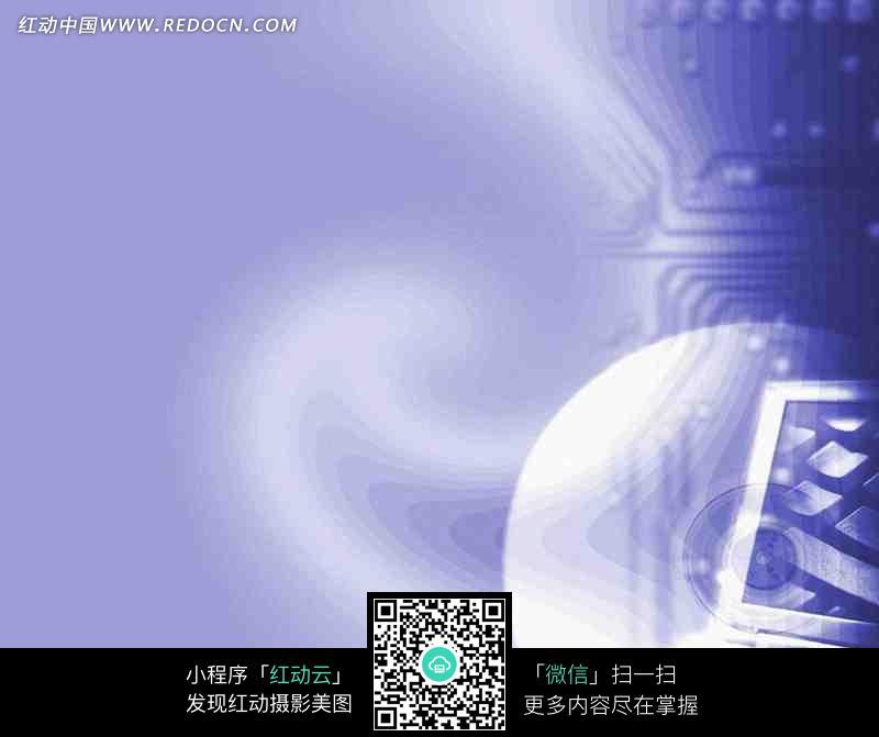 电路板/碟片/显示器构成的紫色背景图片