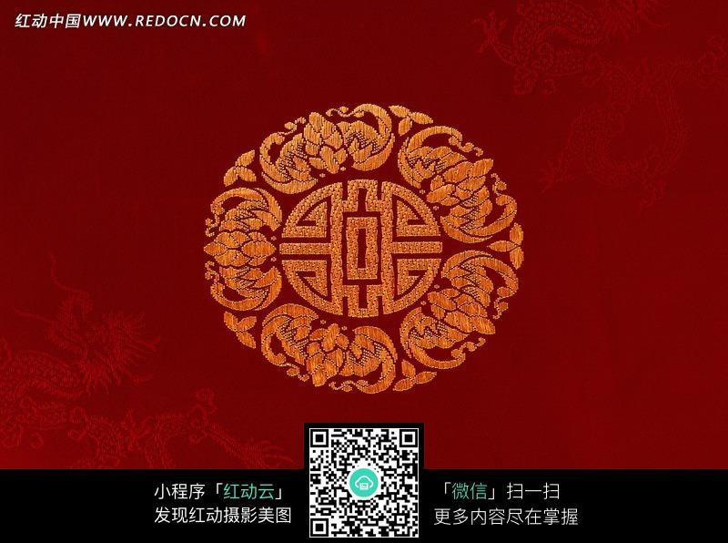 自拍测福_红底色上的龙纹与福纹布料素材