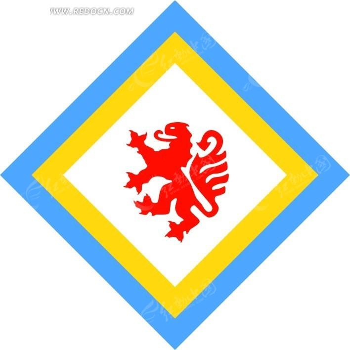 棱形青黄白红色动物图案标志设计[矢量图.cdr]