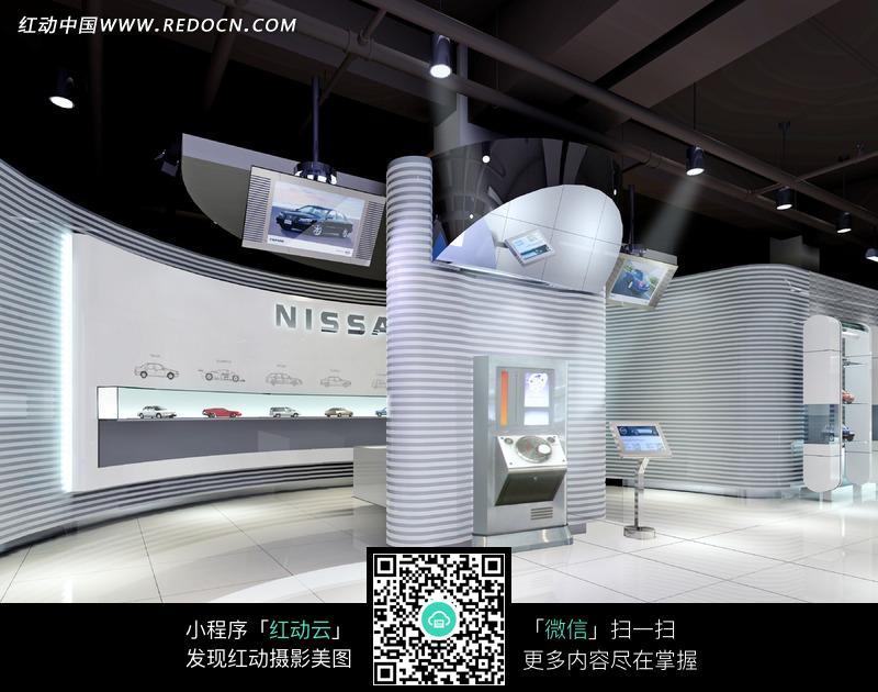 展厅 室内效果图 尼桑汽车高科技多功能展厅 jpg  摄影图片