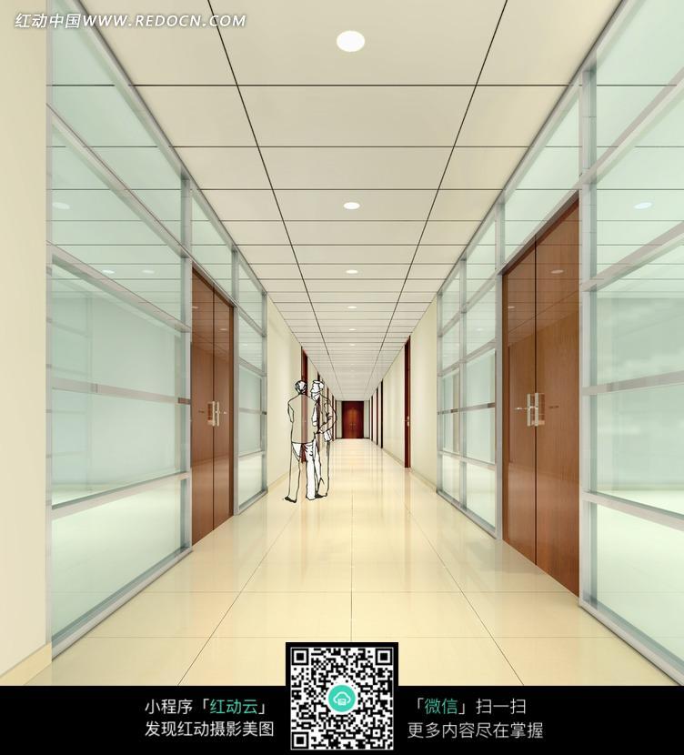 黄色地砖玻璃墙面的走廊效果图图片高清图片