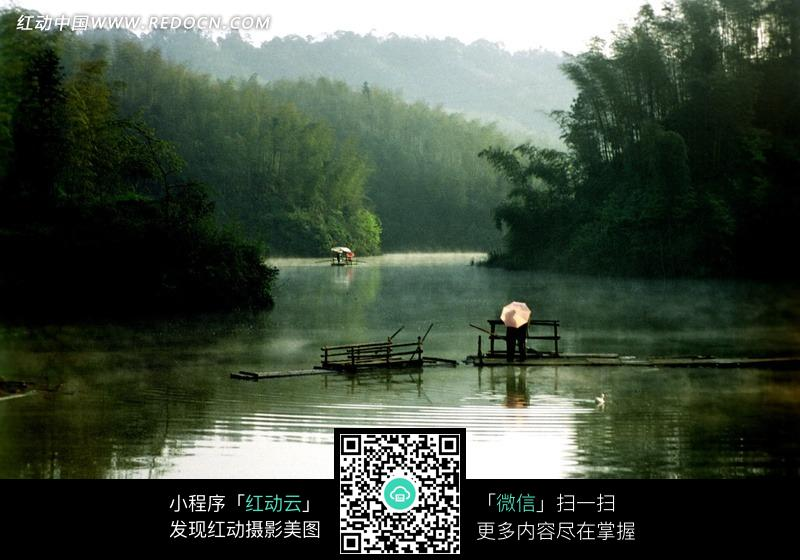 竹林山水写意照片图片