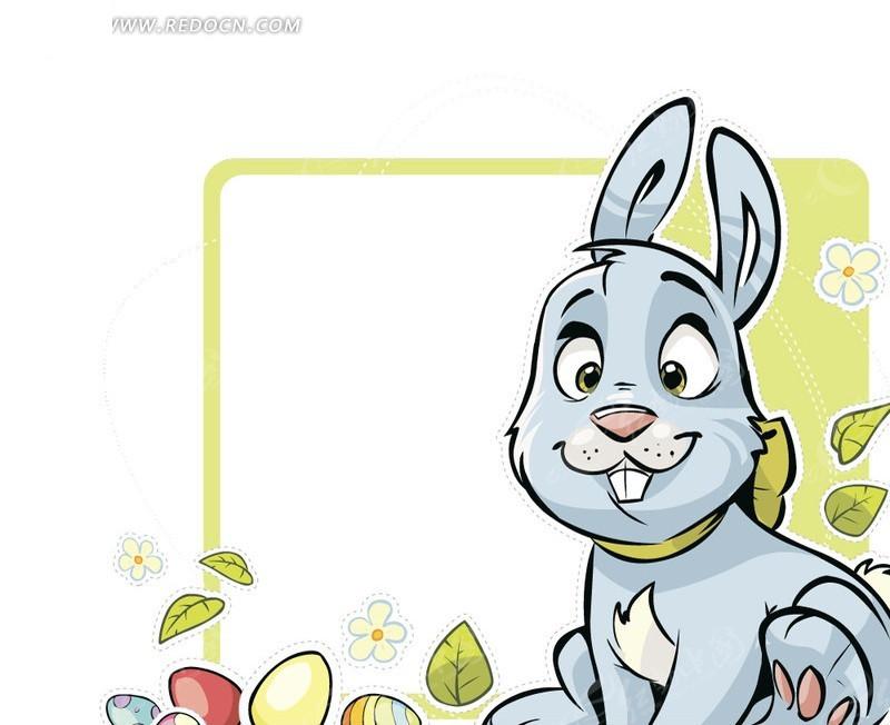 卡通可爱兔子相框矢量素材矢量图免费下载