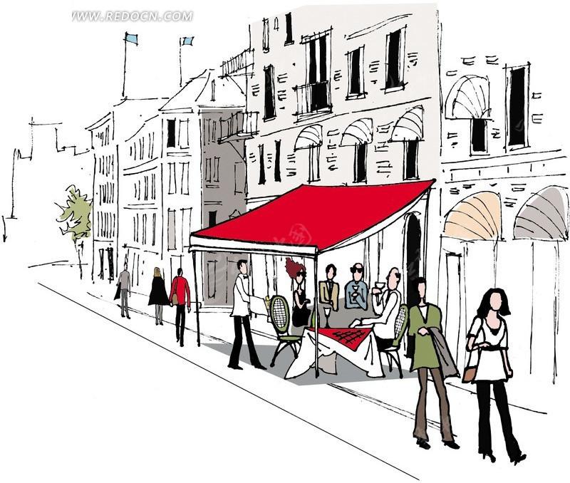 城市街道风景线稿矢量素材