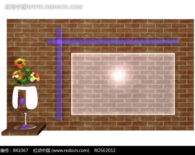 花器里的花朵/半透明矩形/紫色直线构成的图片图片