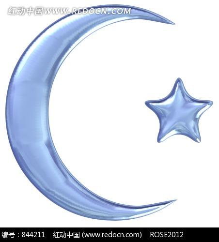 蓝色的卡通月亮和星星