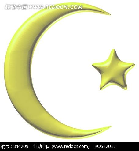 黄色的卡通月亮和星星