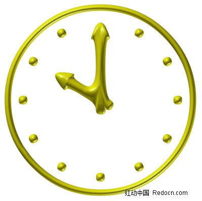 黄色的卡通钟表图片