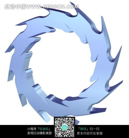 立体 蓝色 锯齿齿轮 花纹 卡通素材 器具 创意设计 jpg图片素材 生活