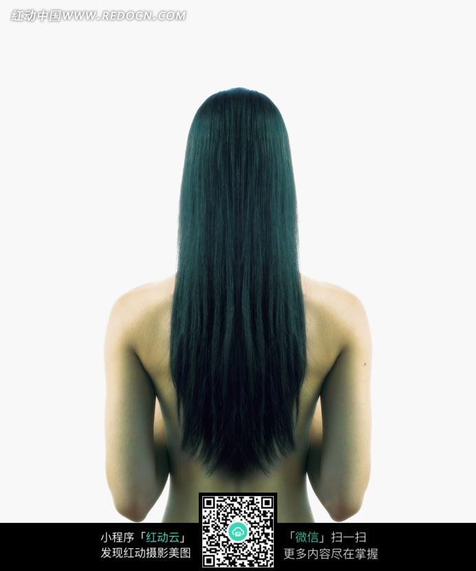 黑色长发裸身美女背影图片 人物图片素材|图片