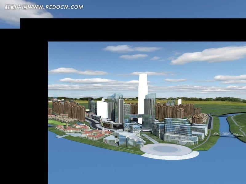 河边的建筑规划效果图图片高清图片