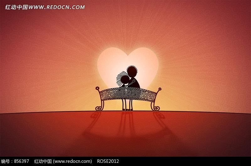 插画椅子上的情侣和心形太阳图片图片