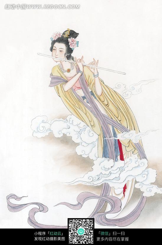 吹着笛子的古代美女图图片
