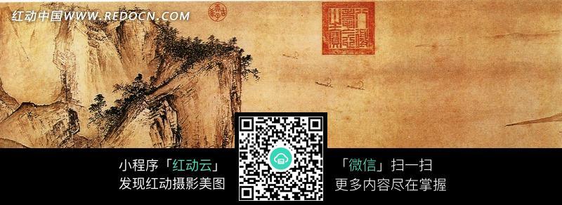 中国风水墨山水画长卷图片图片