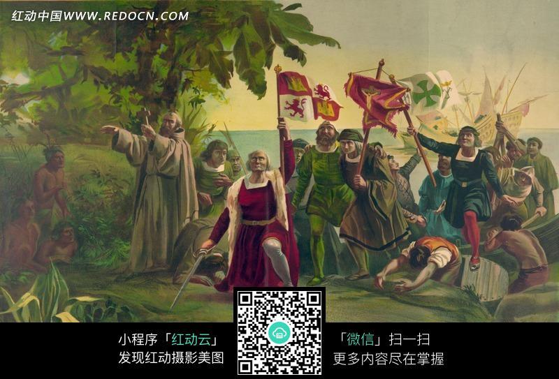 西方古典油画 手举各色旗子的人物图片高清图片