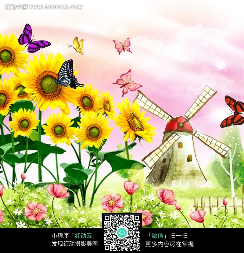唯美花朵风车蝴蝶插画图片