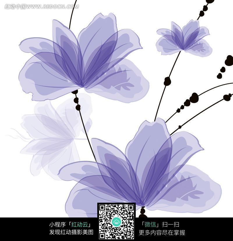 手绘风格蓝紫色花朵