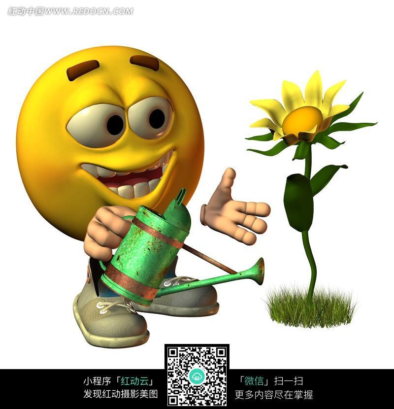 正在浇花的卡通人物图片
