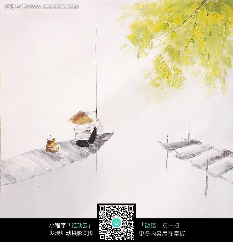 江山钓鱼的老者水墨画图片 漫画插画 绘画图片下载 863089