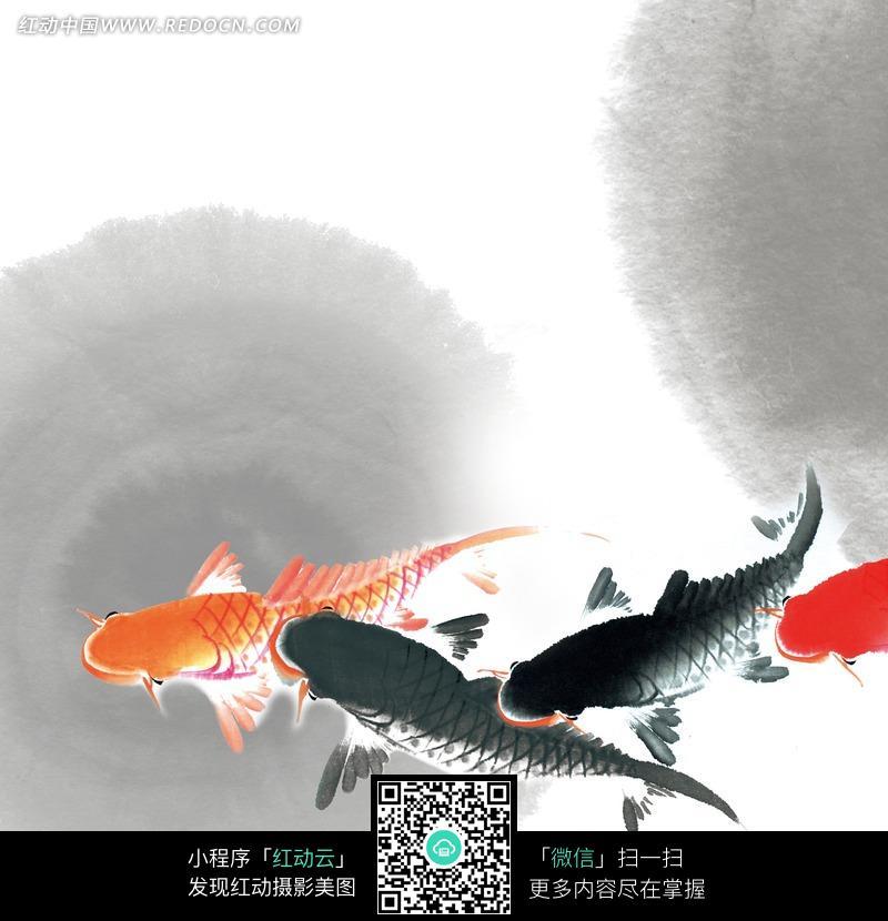 主题为鱼的水墨画图片