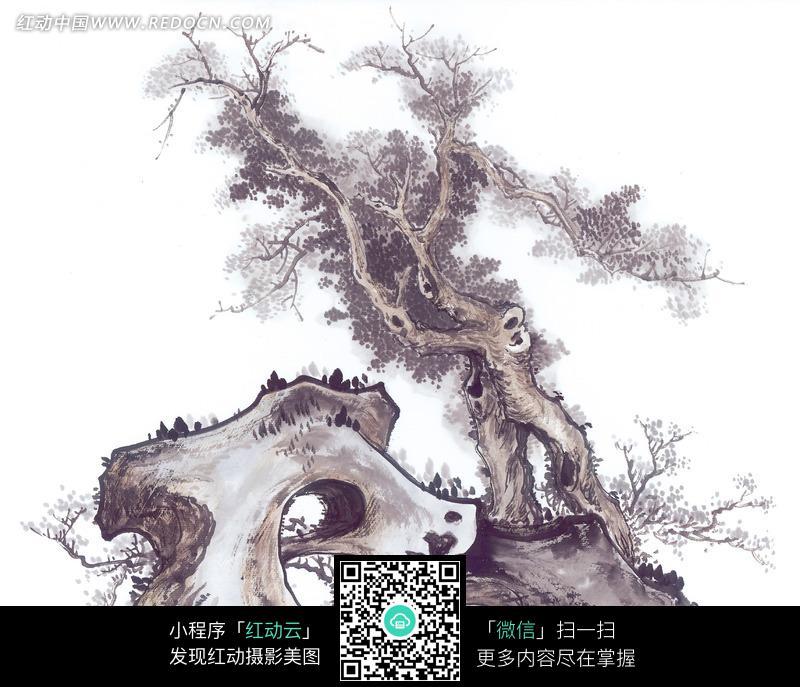 假山松树水墨画图片
