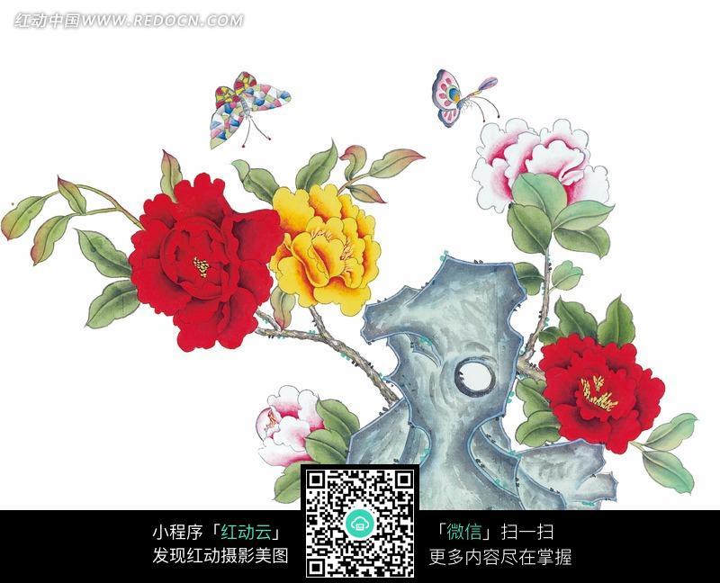 中国工笔花鸟 牡丹和蝴蝶图片