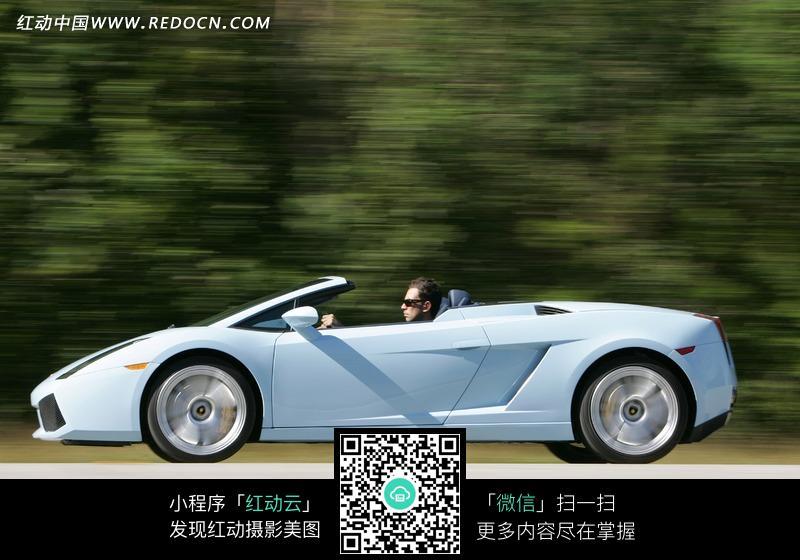 兰博基尼gallardo白色跑车正侧面图片