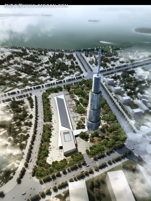 塔式建筑鸟瞰效果图图片