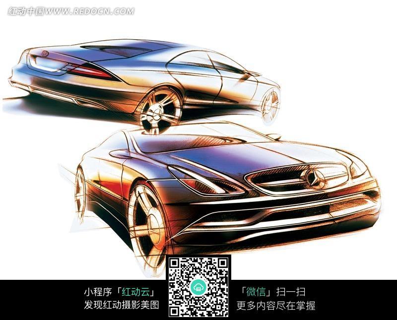 手绘的奔驰汽车图片