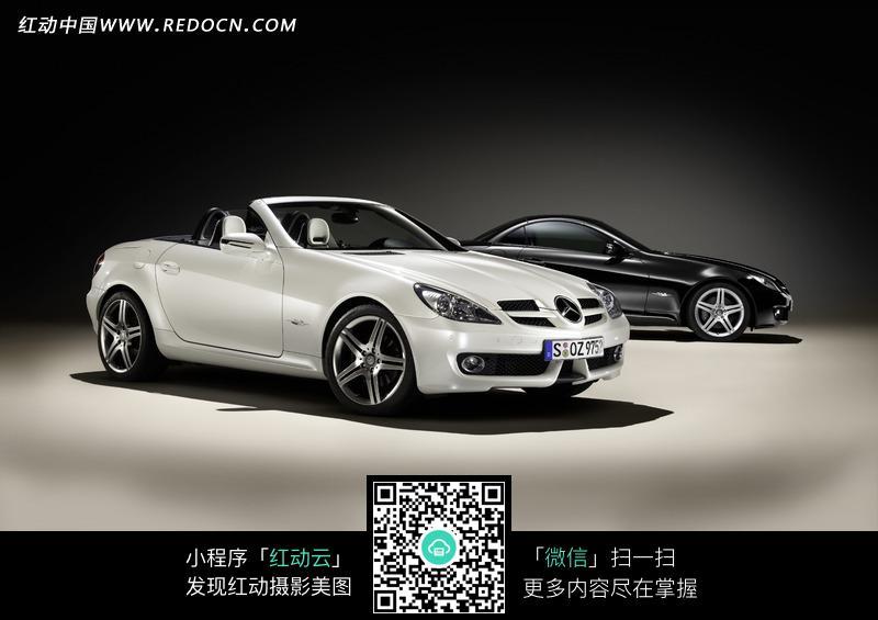 黑白两款奔驰sl级跑车图片