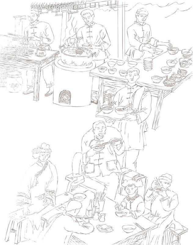 古代街头食摊黑白线条画psd素材图片