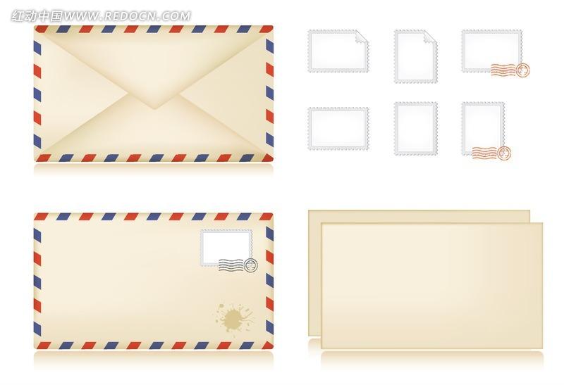 一套信封邮票信纸模板设计PSD素材免费下载 编号873669 红动网