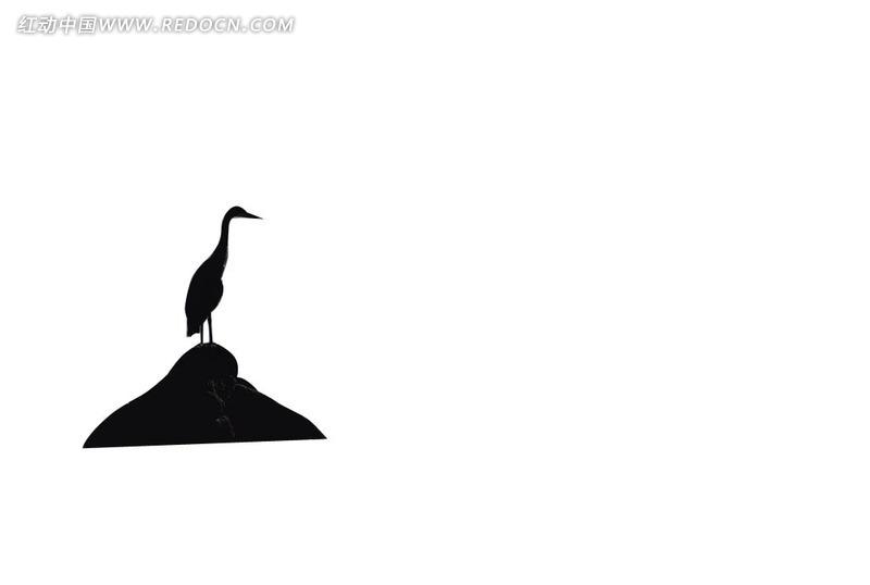 石礁上站立的鹤剪影