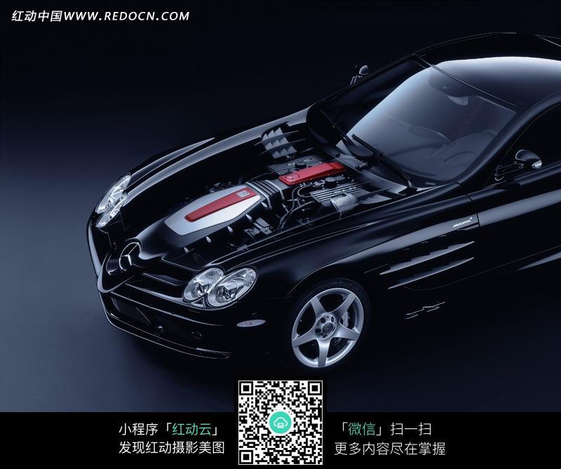 黑色奔驰汽车发动机摄影图片图片高清图片