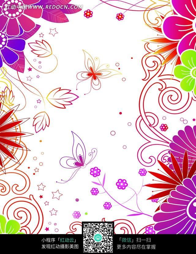 抽象花朵/卷曲的藤蔓/叶子/蝴蝶构成的图片