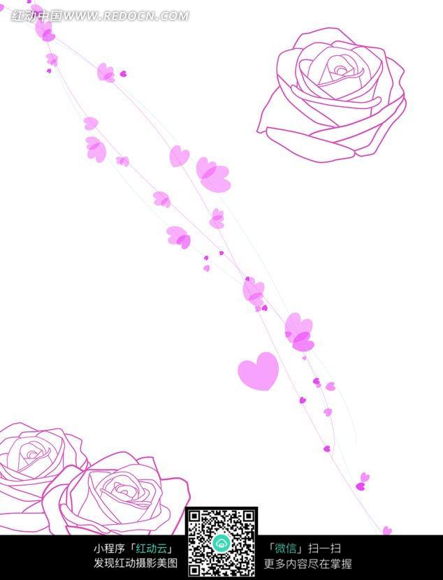 玫瑰花朵/心形/曲线构成的图片