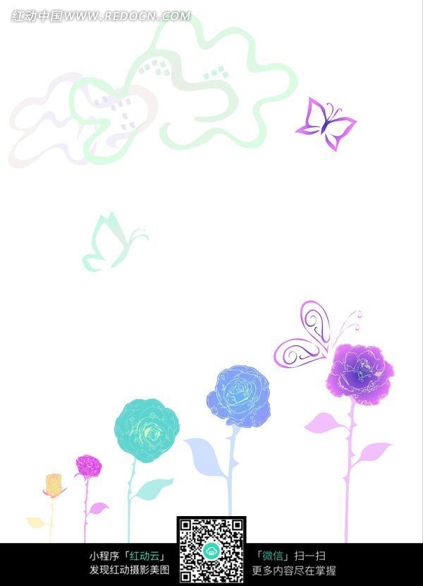 手绘玫瑰花云彩蝴蝶底图画布