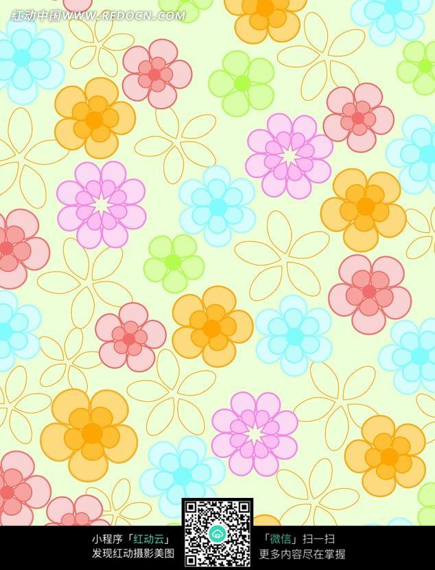 简易手绘花朵 小花 彩色线条花朵 画布 背景素材 底纹