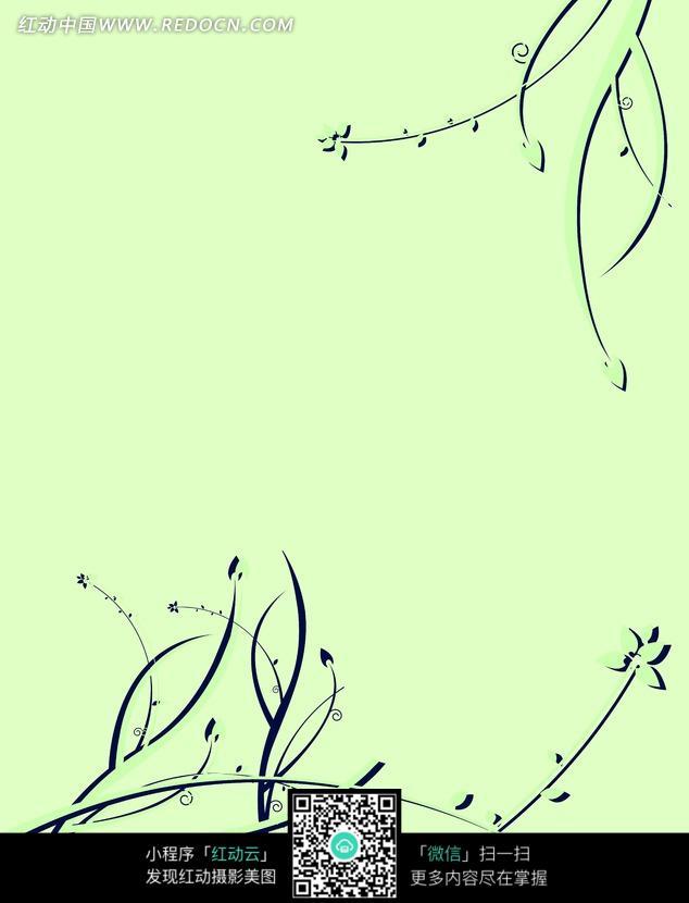 手绘树枝藤蔓底画图片