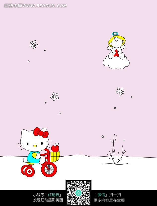 卡通猫咪和小天使背景