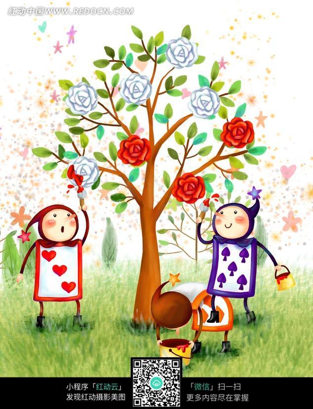 手绘草地玫瑰树下的扑克牌小人图片