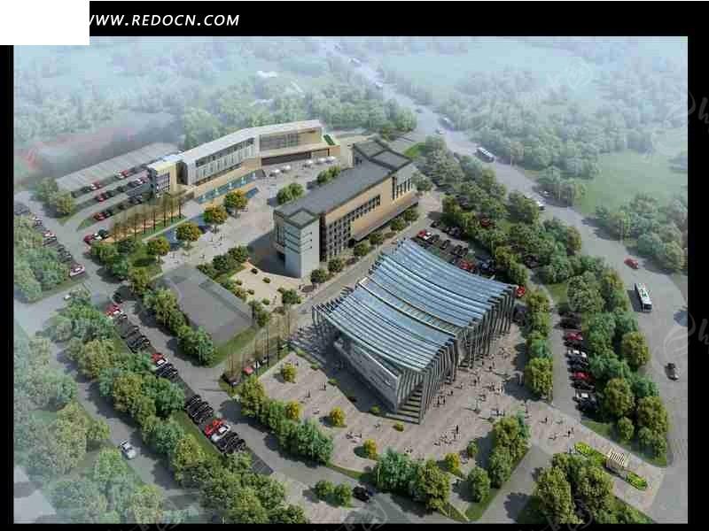 城市规划建筑效果图鸟瞰图图片高清图片